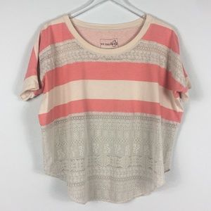 Free People   Pink Cream Lace Top   XS